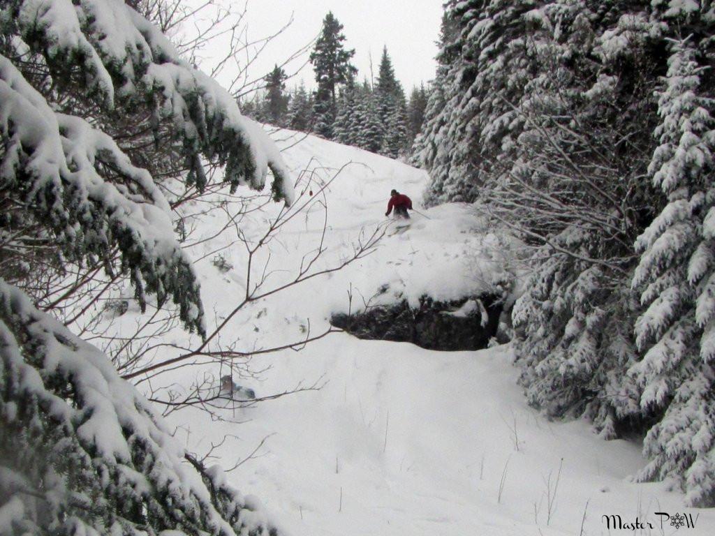 Saut de roche dans la Pow Snowboard