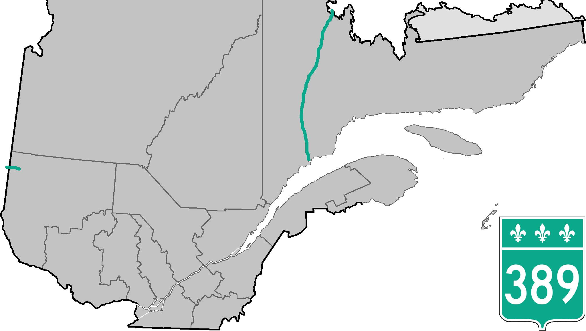 La route 389 au Québec