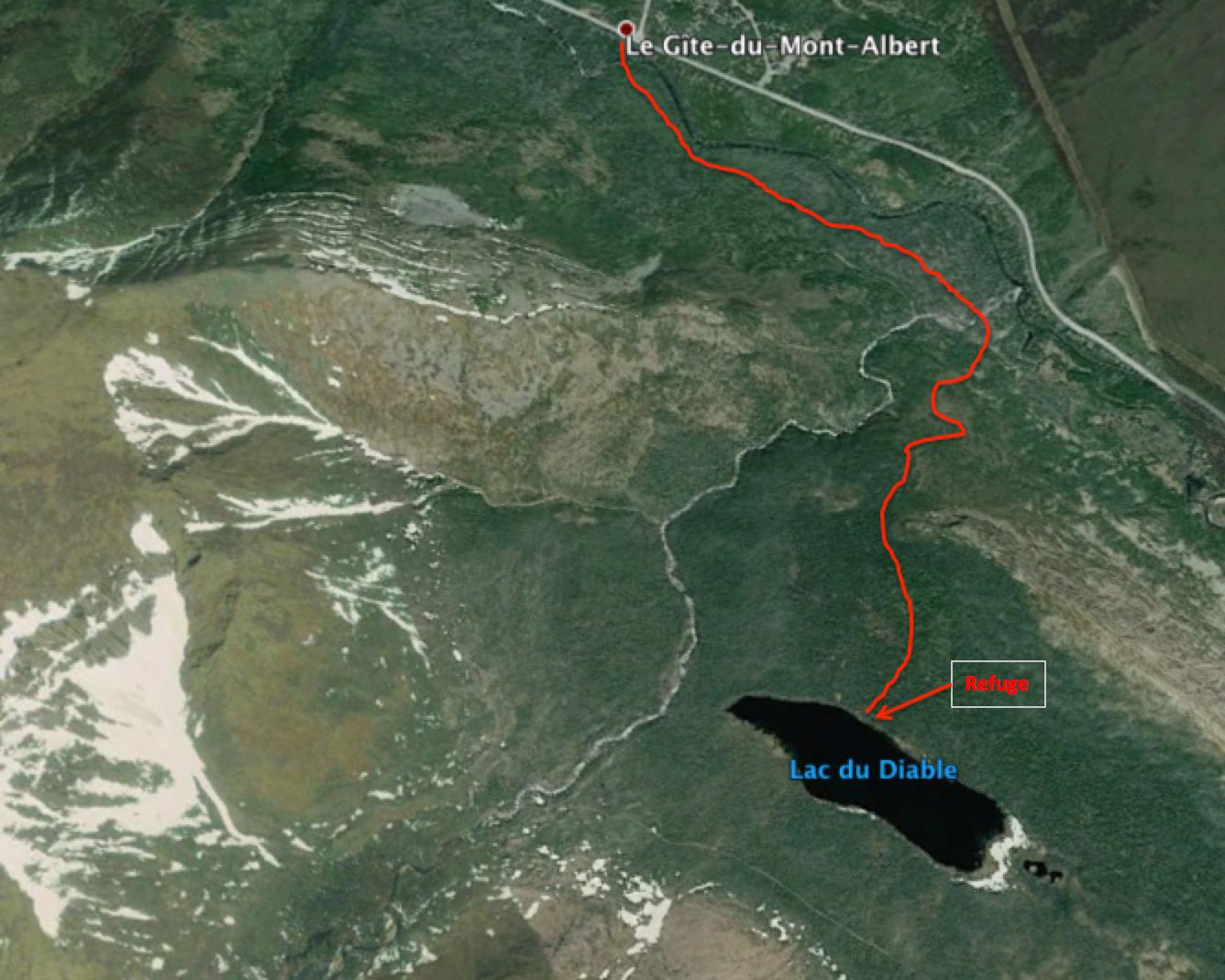 Chemin emprunté pour aller au refuge du mont Albert