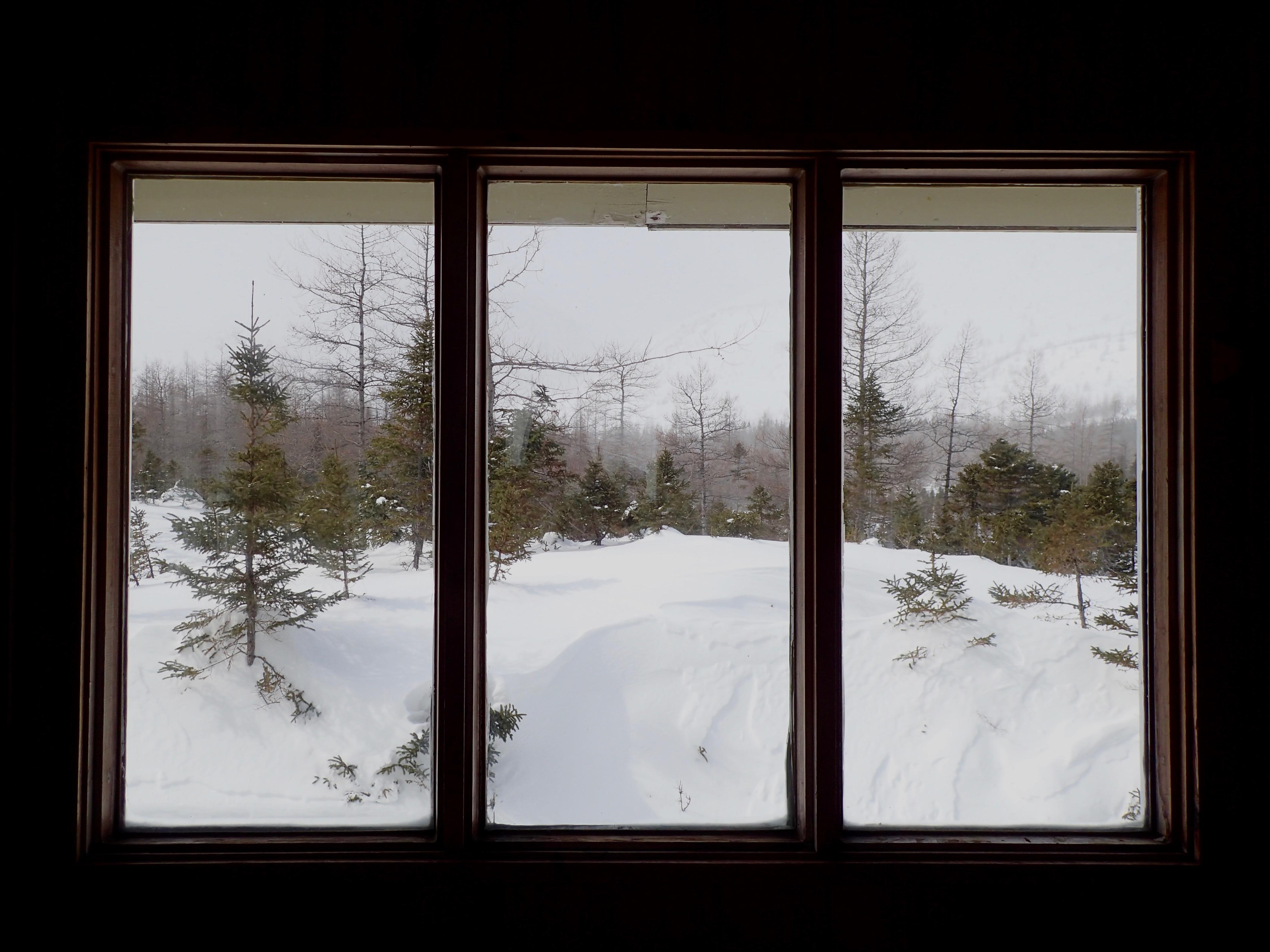 Au travers la fenêtre la neige