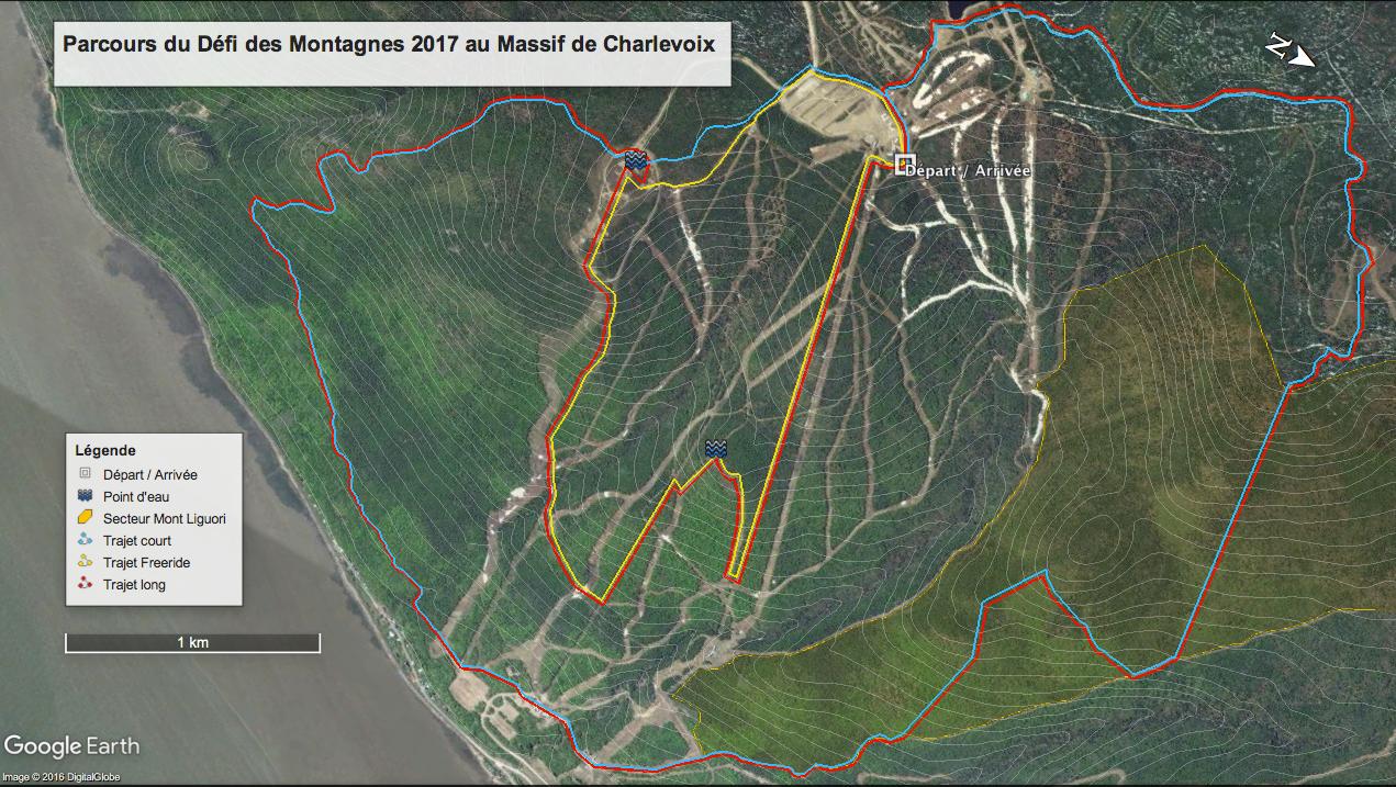 Tracé du parcours du Défi des montagnes 2017, Massif de Charlevoix