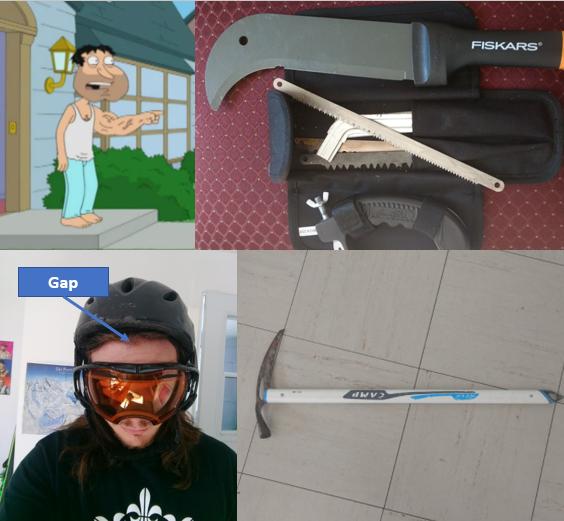 gap, piolet et machette